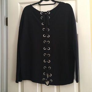 Express black lace up Grommet sweater Small